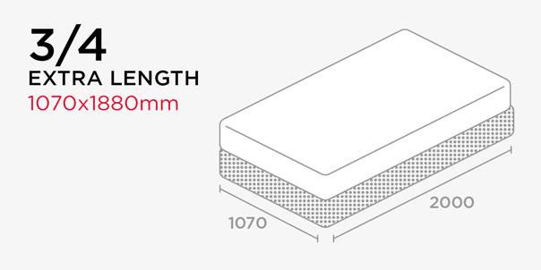Shop by Length - Three-Quarter Bed - Extra Length - 1070x1880mm